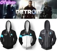 Detroit: Become Human Connor RK800 and KARA Cosplay Costume Daily 3D Printing Hoodies Winter Sweatshirt Coat Long Sleeves Jecket