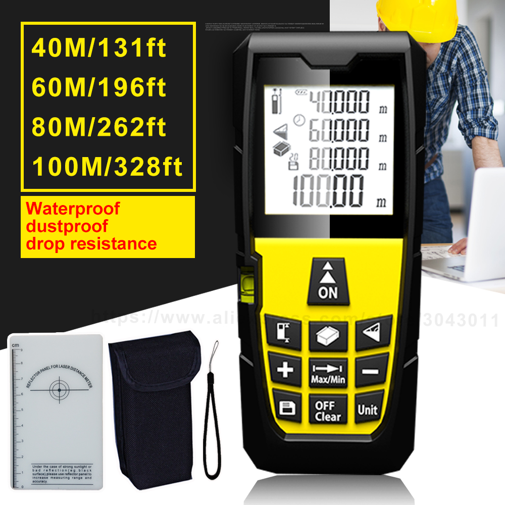 Laser Rangefinders Area/Volume/Distance/Pythagoras Portable Laser Distance Measurer 40m(131ft)60m(196ft)80m(262ft)100m(328ft)
