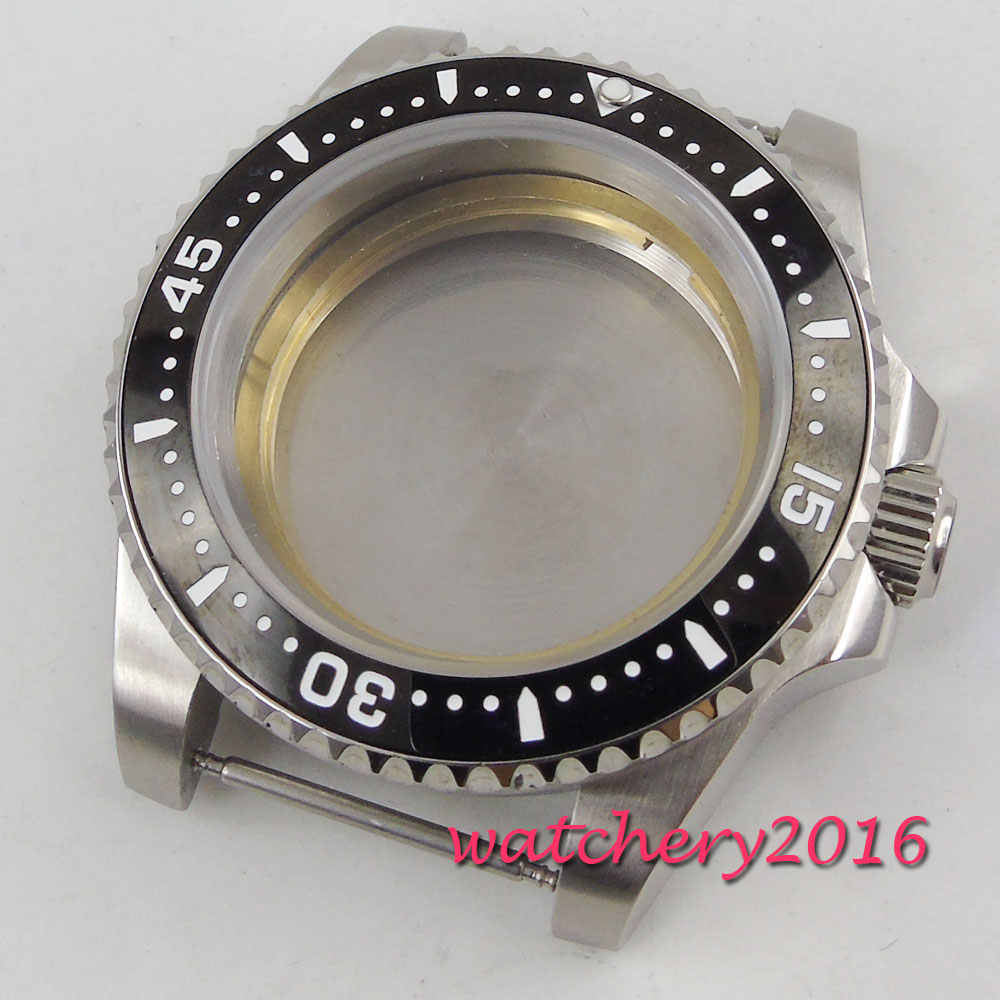 40mm Sapphire Glass Black ceramic bezel Date Watch Case fit 2836 miyota 8215 movement mens watch