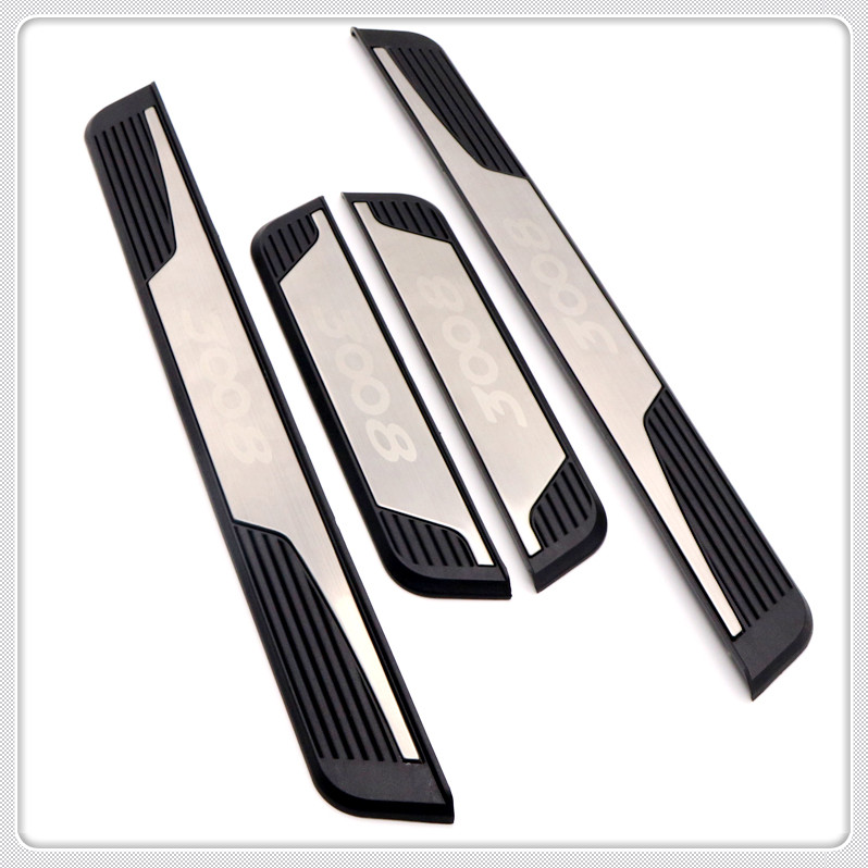 For Peugeot 3008 GT 2016 2017 2018 2019 Car Door Sill Scuff Plate Threshold Plate Cover Trim 4pcs Auto Accessories Car Styling in Interior Mouldings from Automobiles Motorcycles