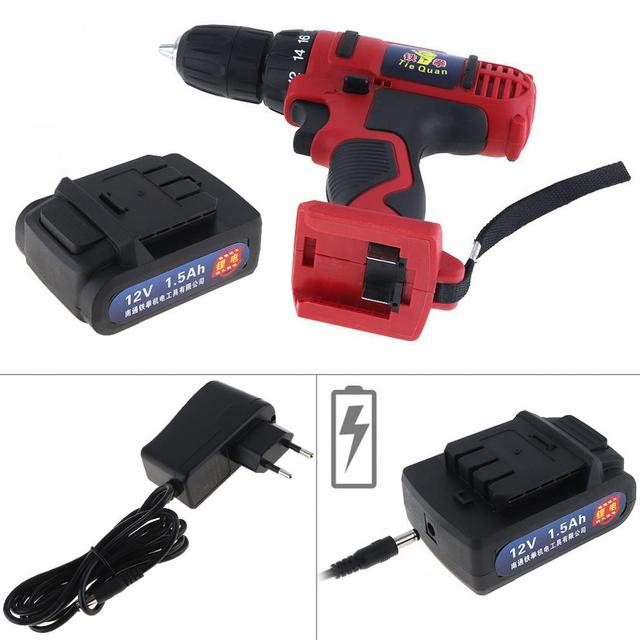 AC 100 - 240V Cordless 12V Electric Drill / Screwdriver with 18 Gear Torque and Two-speed Adjustment for Screws / Punching 2