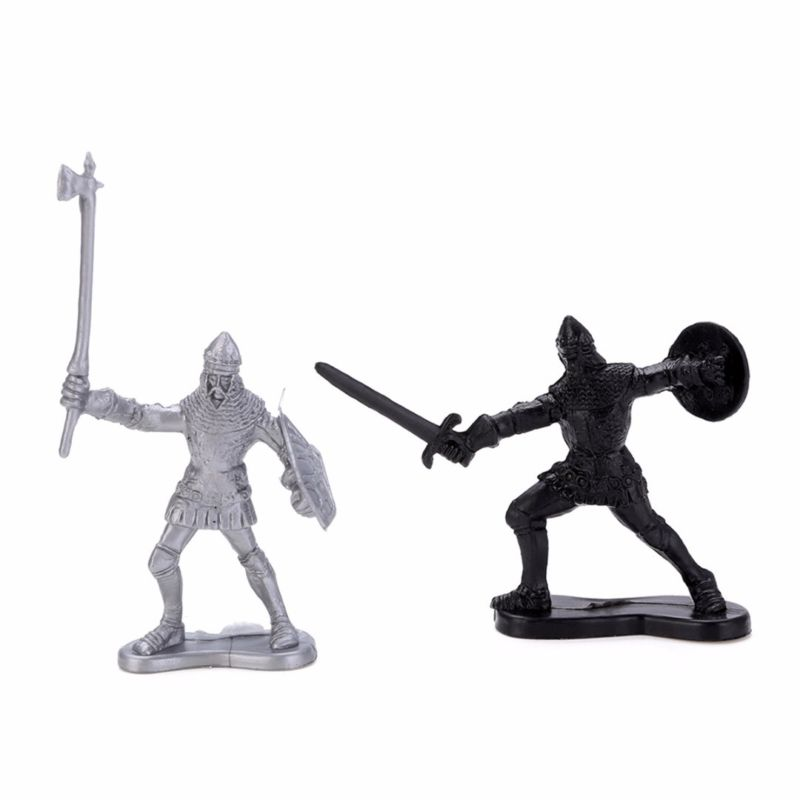 60Pcs Set Medieval Knights Warriors Kids Toy Soldiers Figure Models Black Silver Military War Ancient Soldiers