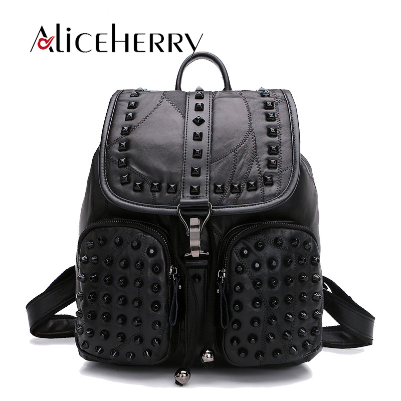 Genuine Leather Rivet Black Backpack Women Casual Bags Solid Backpack Girls School Bags Sheepskin Leather Backpack Mochila