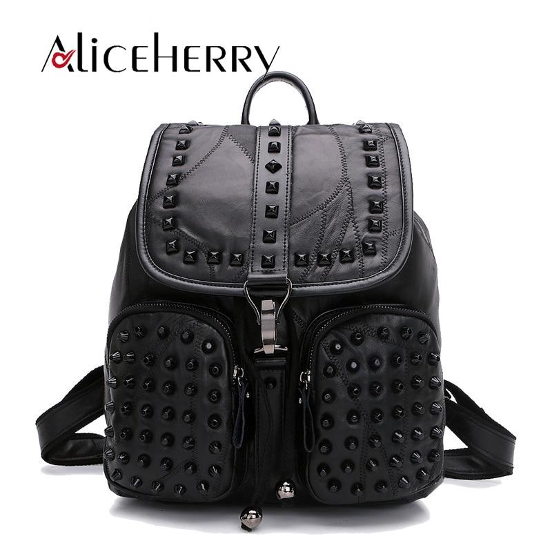 Véritable cuir Rivet noir sac à dos femmes sacs décontractés solide sac à dos filles sacs d'école en peau de mouton en cuir sac à dos Mochila