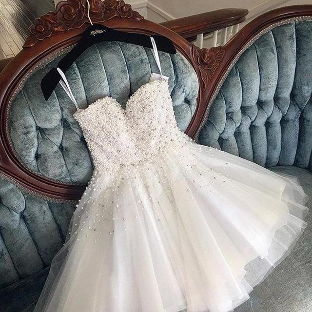 Pretty Knee Length Pearls Homecoming Dresses 2018 Spaghetti Straps Tulle Party Dresses Prom Gown vestidos de graduacion