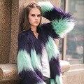 YNZZU Элегантный искусственного меха пальто женщин Пушистый теплый с длинным рукавом женская верхняя одежда Лоскутное шуба chic куртка волосатые пальто YO089