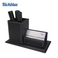 4 Slot Wood Leather Table Storage Box Mobile Phone Makeup Cosmetics Box Case Holder Organizer 1284
