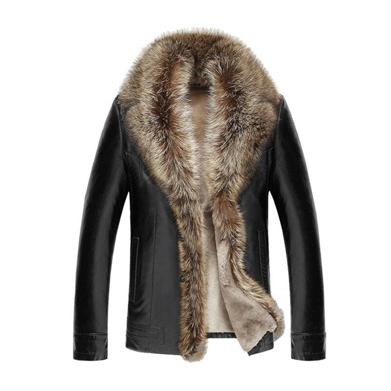 2018 Fourrure D'hiver En Cuir Veste Hommes De Mode Chaud En Cuir Veste hommes Revers En Cachemire Mâle Épais Moto En Cuir Manteau 4XL 5XL 50