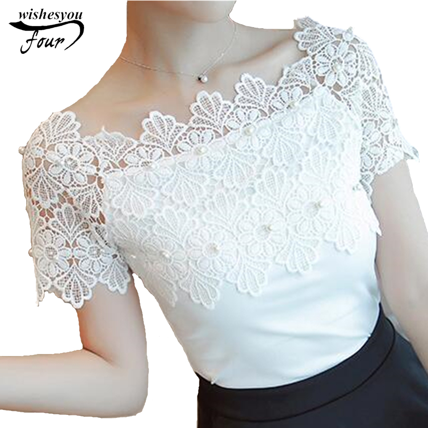 Hollow Out Women Sexy Short Sleeve   Blouse   Ladies Fashion Elegant   Blouses   Women Lace Patchwork   Blouse     Shirt   Casual Women Top 80F