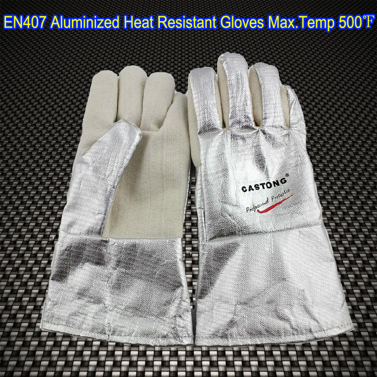 EN407 High Temperature flame resistant Aluminized Welding Gloves Oven gloves Heat resistant gloves oven mitt flame resistant 100% cotton treated fabric each