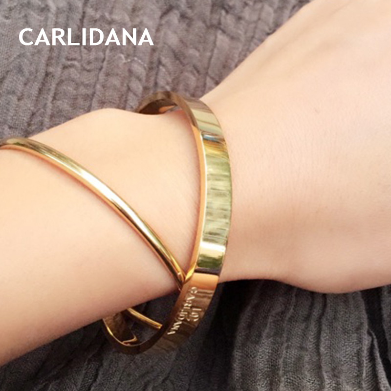 Vintage Cuff Bangle Bracelet for Women Gold Color Classic Multilayer Stainless Steel Bracelet Fashion Jewelry Gift CARLIDANA elegant solid color multilayer embossed circle bracelet for women