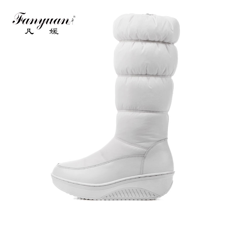 Fanyuan NEW 2018 fashion warm knee high snow boots women round toe soft leather warm down winter thick fur ladies winter shoes фронтальная панель ravak rosa 160 см белая czl1000a00 page 8