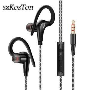 Image 1 - 3.5mm 귀에 매달려 스포츠 이어폰 1.25 m 귀고리 유선 헤드폰 아이폰에 대 한 스마트 폰 in ear 방수 헤드셋 마이크