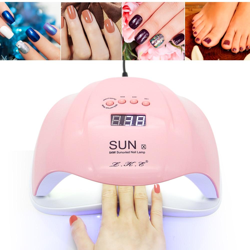 LKE SUNx 48W 54W Nail Dryer UV Lamp 36 LEDs Drying UV Gel Timer For 10s 30s 60s Automatic Sense Manicure Art Tools Nail Lamps цены онлайн