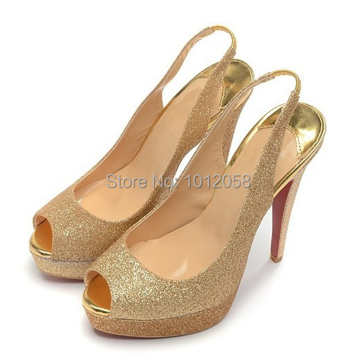 2015 Woman Open Toe High Heels Platform Women Peep Toe Gold Glitter  Slingback Heels Wedding Bridal Shoes Golden Sandals Pumps-in Women s Pumps  from Shoes on ... edd2cee2eacb