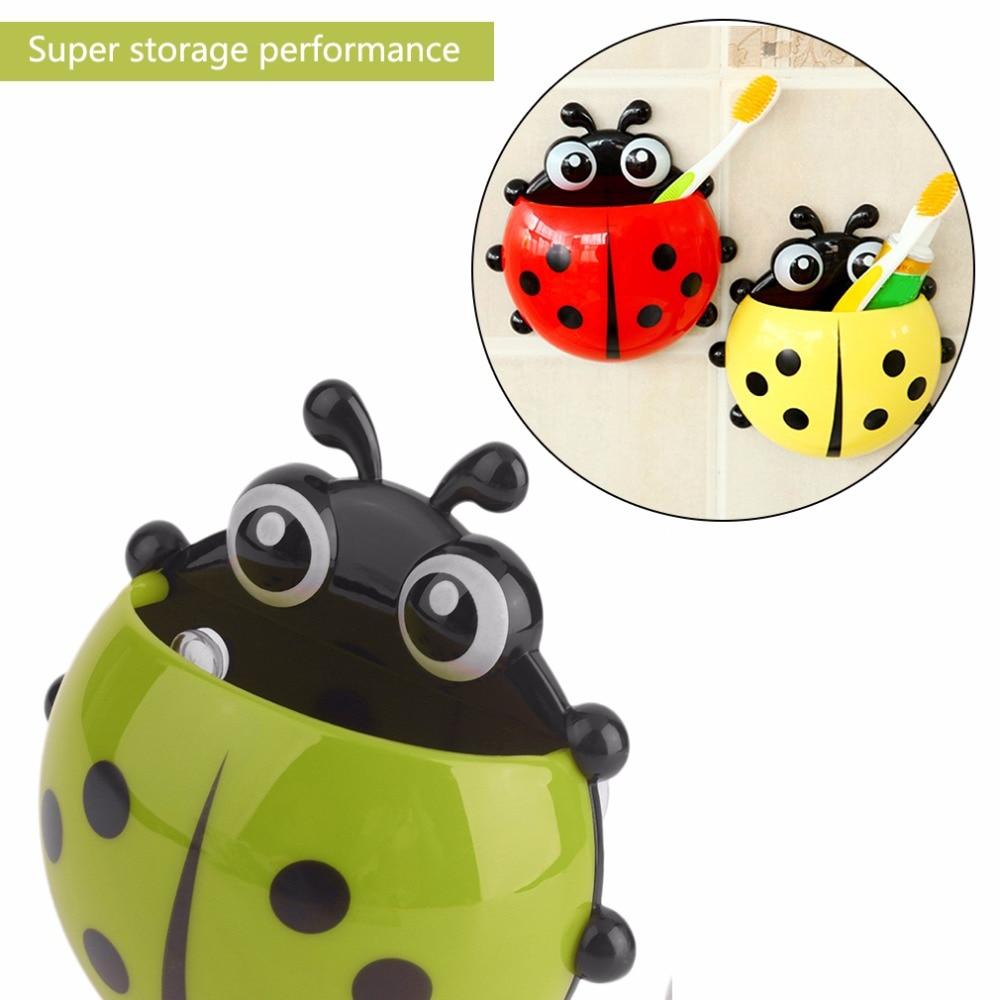 Porta-Escova De Dente Joaninha Cartoon Sucção Gancho suporte de montagem de parede Kid Ventosa #