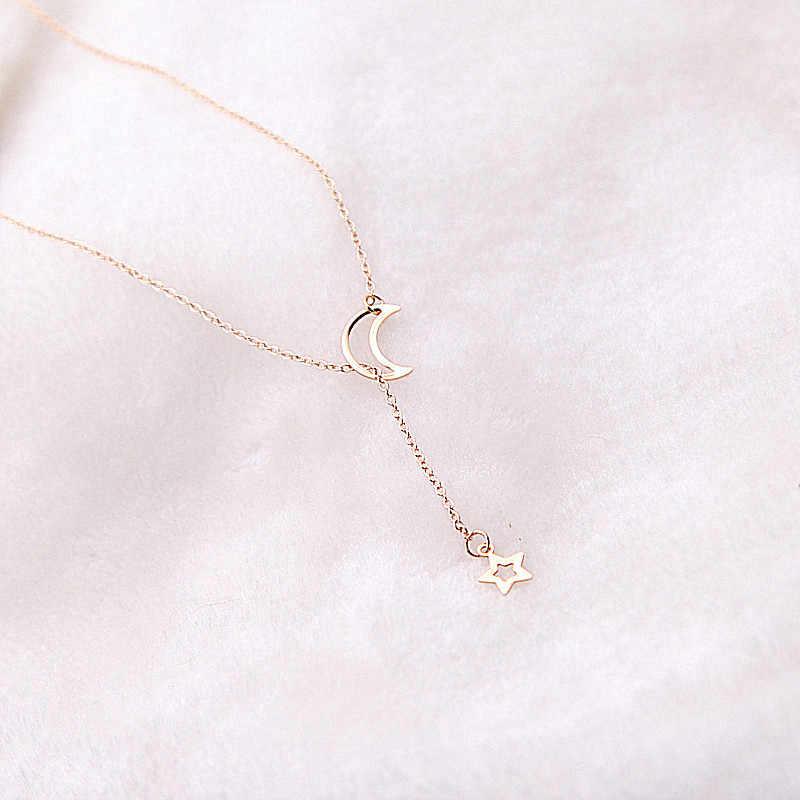 Луна цепочка со звездами ожерелье Модные ювелирные изделия 2017 золото цвет длинный кулон простое ожерелье для женщин Девушка bijoux подарок x13