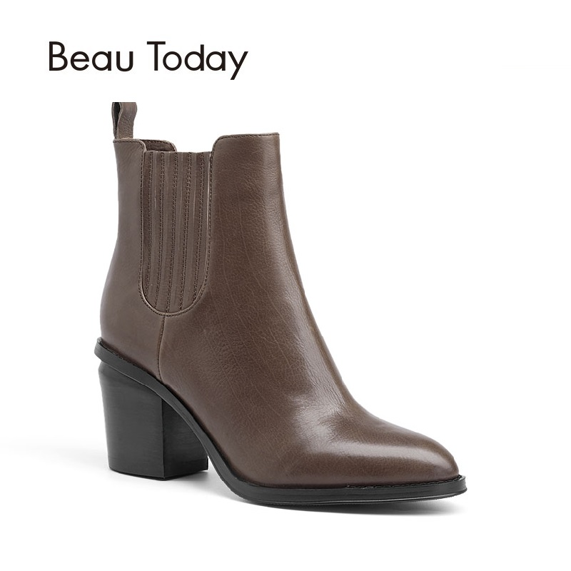 BeauToday Genuine Leather Women Chelsea Boot Spring Autumn Elastic High Heel Calf Leather Europe Style Ankle Lady boots 03209 new arrival superstar genuine leather chelsea boots women round toe solid thick heel runway model nude zipper mid calf boots l63