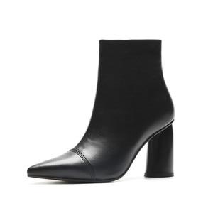 Image 4 - MORAZORA 2020 מכירה לוהטת קרסול מגפי נשים הבוהן מחודדת עור אמיתי מגפי פשוט עקבים גבוהים שמלת נעלי סתיו נעלי חורף