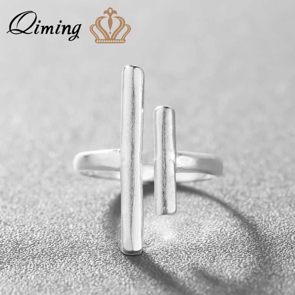 QIMING New Arrival 925 Sterling Silver Rings Fashion Double Bar Women Party Rings Gift Simple Jewelry