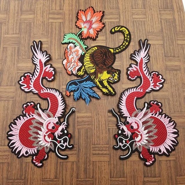 1 Satz Stickerei blumen tiger und rosa drachen muster patch nähen ...