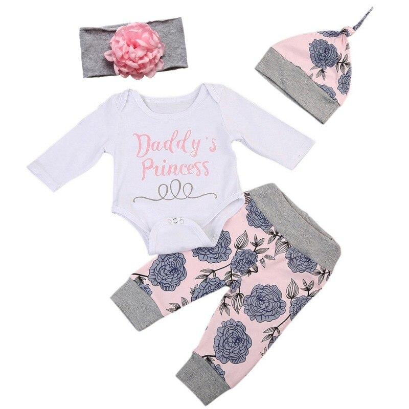Cute Newborn Baby Girls Cotton Clothes Sets Romper Jumpsuit Bodysuit+ Pants+ Headband+ Hat Long Sleeve Autumn Outfits 4pcs/Set