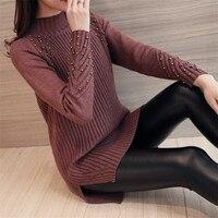 Autumn And Winter Sweater Female Head Long Sweater In Korean Turtleneck Sweater Dress Dress Size Split