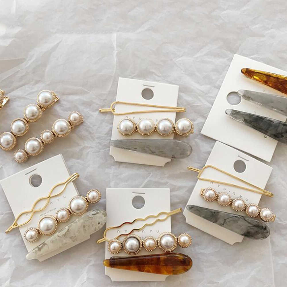 1 Set Hair Clip for Women Korea Gold Metal Pearl Barrettes Irregular Acetate Girl Jewelry Wedding Party Hair Accessories