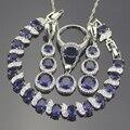 Azul Creado Zafiro Blanco Topaz 925 Plata de La Joyería Para Las Mujeres Pendientes/Colgante/Collar/Anillos/pulseras Caja Libre