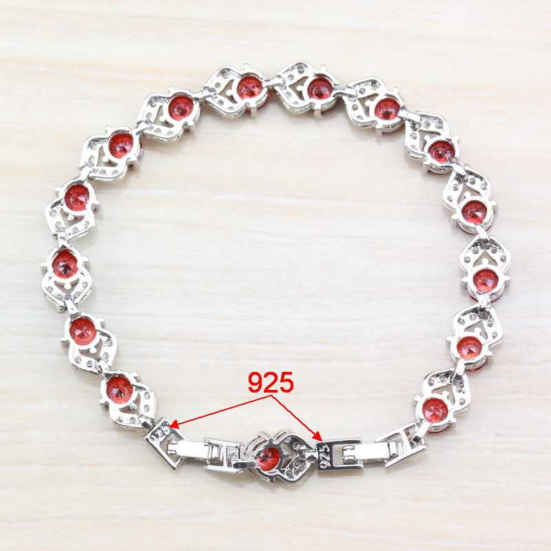 925 スターリングシルバーまぶしい赤ガーネットブレスレット健康ファッションジュエリー女性送料無料ジュエリーボックス SL116