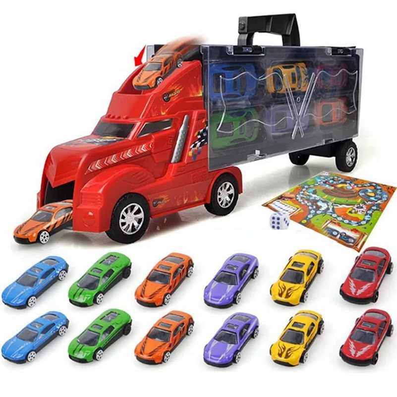 Truck with Small Cars map dice Toys For Kids boys Christmas Gift child educational plastic Classic Toys promotion gift funny