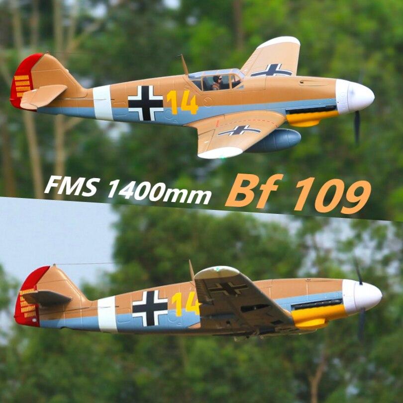 FMS 1400 MILLIMETRI 1.4 M Mi 109 Messerschmitt Bf 109 Bf109 Marrone 4 S 6CH con Alette Ritrae PNP RC aereo Warbird Modello di Aereo Aereo Aereo