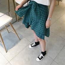 HziriP Cotton Fake Two Pieces-shirts Plaid Skirts Women Casual Stretch Waist Summer Midi Skirt 2017 Fashion Asymmetrical Skirts