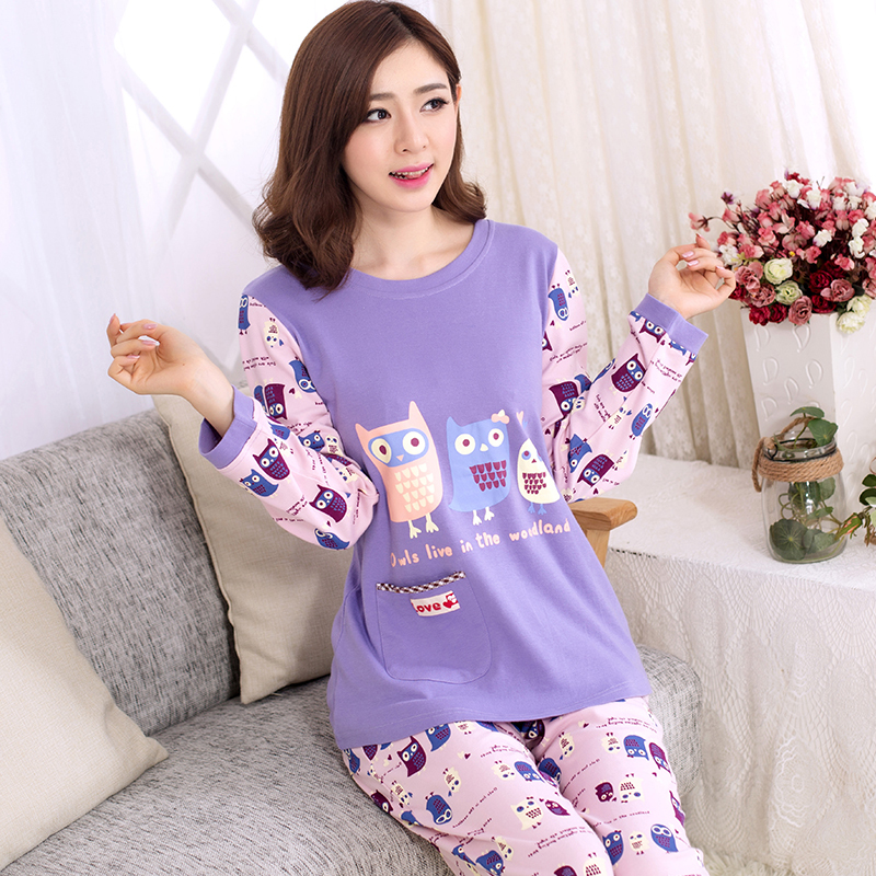 Aliexpress.com : Buy Women Cotton Pajamas Owl Cartoon Sleepwear ...