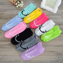 Spring Summer Women Fashion Socks Hosiery Candy Colors Socks Cute Smile Face Print Socks Girls Socks