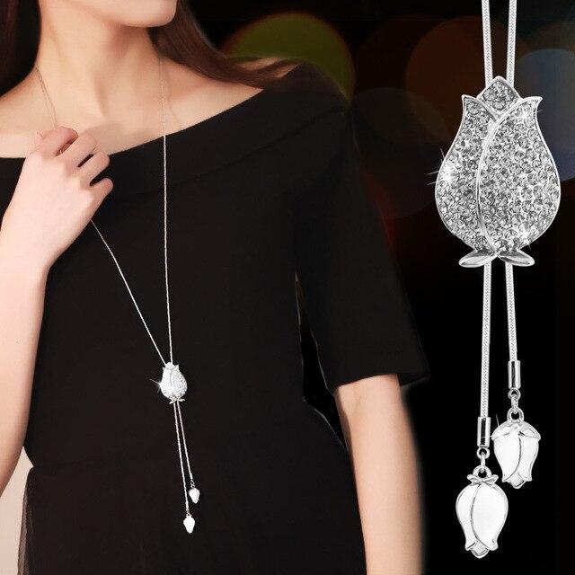 20adac1d2959 Nuevo lujo Opal flor collar largo suéter cadena de moda cadenas de plata  cristal Rhinestone Tulip