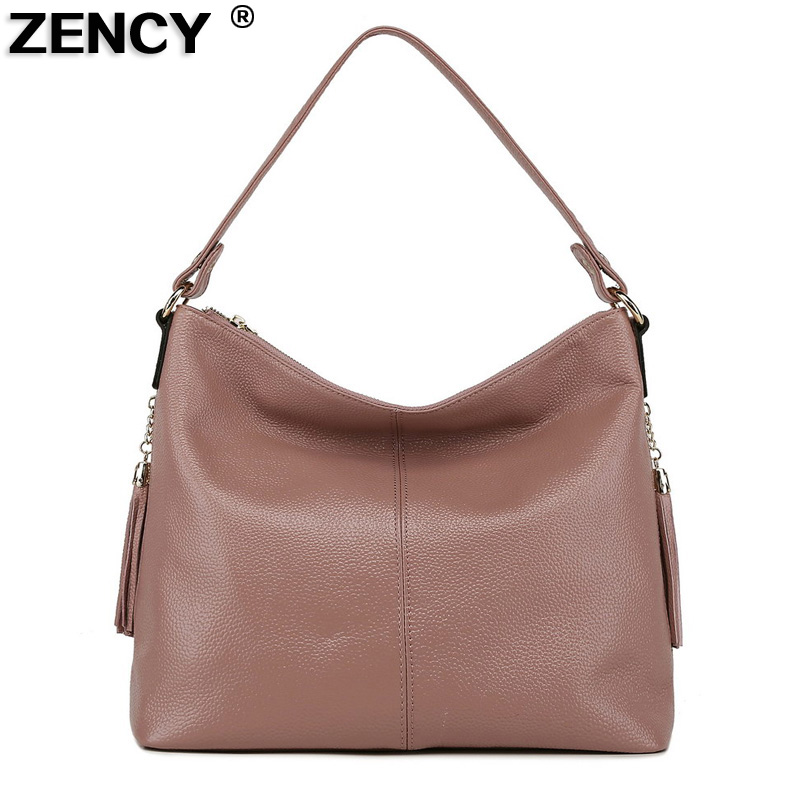 100% Genuine First Layer Cow Leather Women Shoulder Tassel Designer Female Tote Handbag Ladies Messenger Bags Pink/Gray/Black qiaobao 100% genuine leather women s messenger bags first layer of cowhide crossbody bags female designer shoulder tote bag