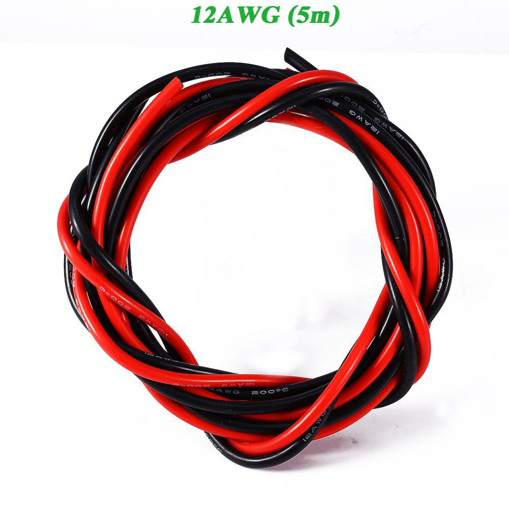 12AWG 5m Gauge Wire Silicone Electronic Flexible Stranded Cable Cord ...