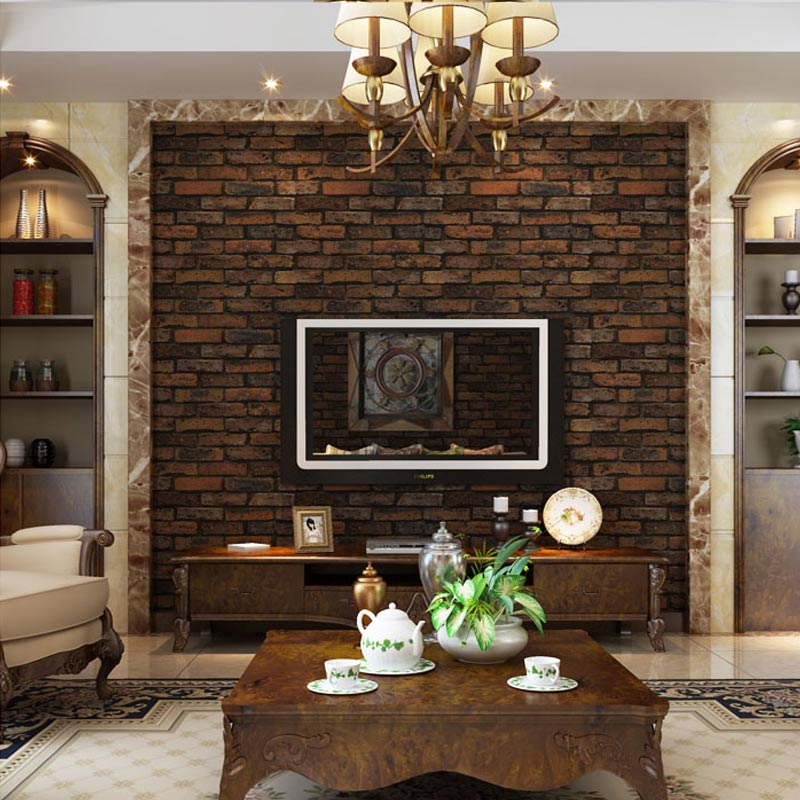 Living rooms with brick effect wallpaper living room for Living room paper