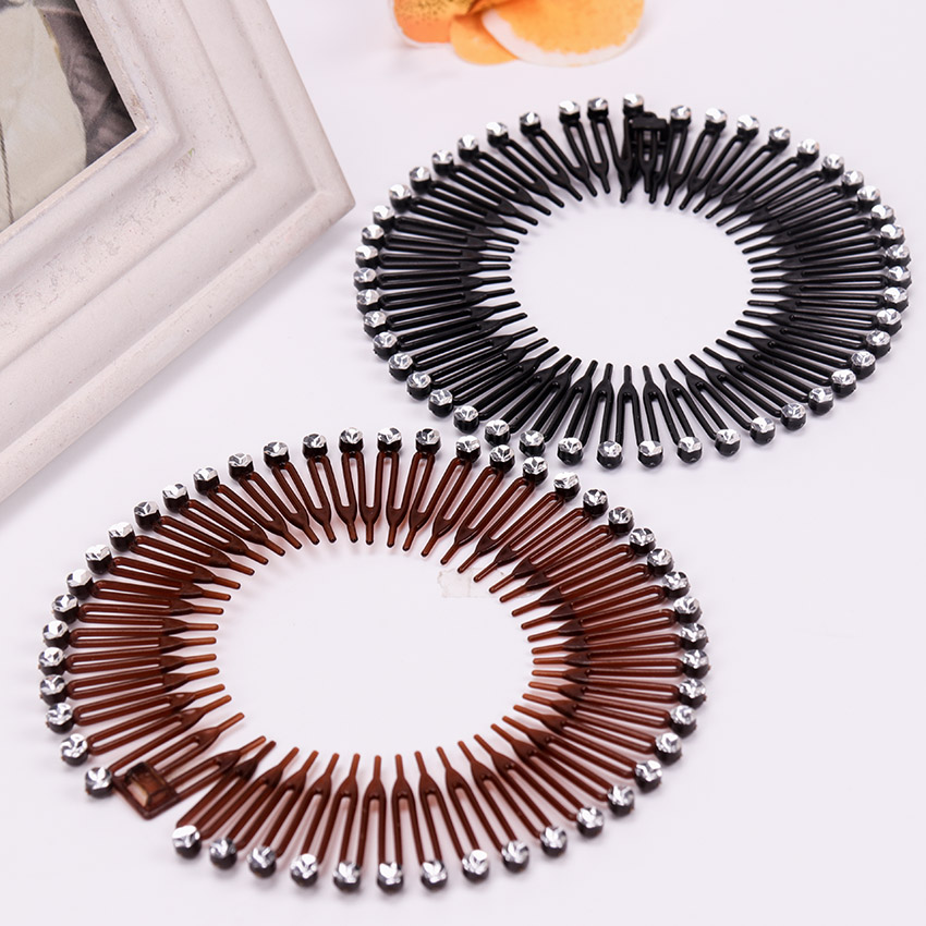 Hair Accessories Full Circle Stretch Flexible Comb Teeth   Headwear   Plastic Diamond Hair Fixed Headband for Women Accessories