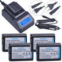 4pc NP FW50 NP FW50 FW50 Li Ion Battery LCD Quick Charger For Sony A6000 NEX