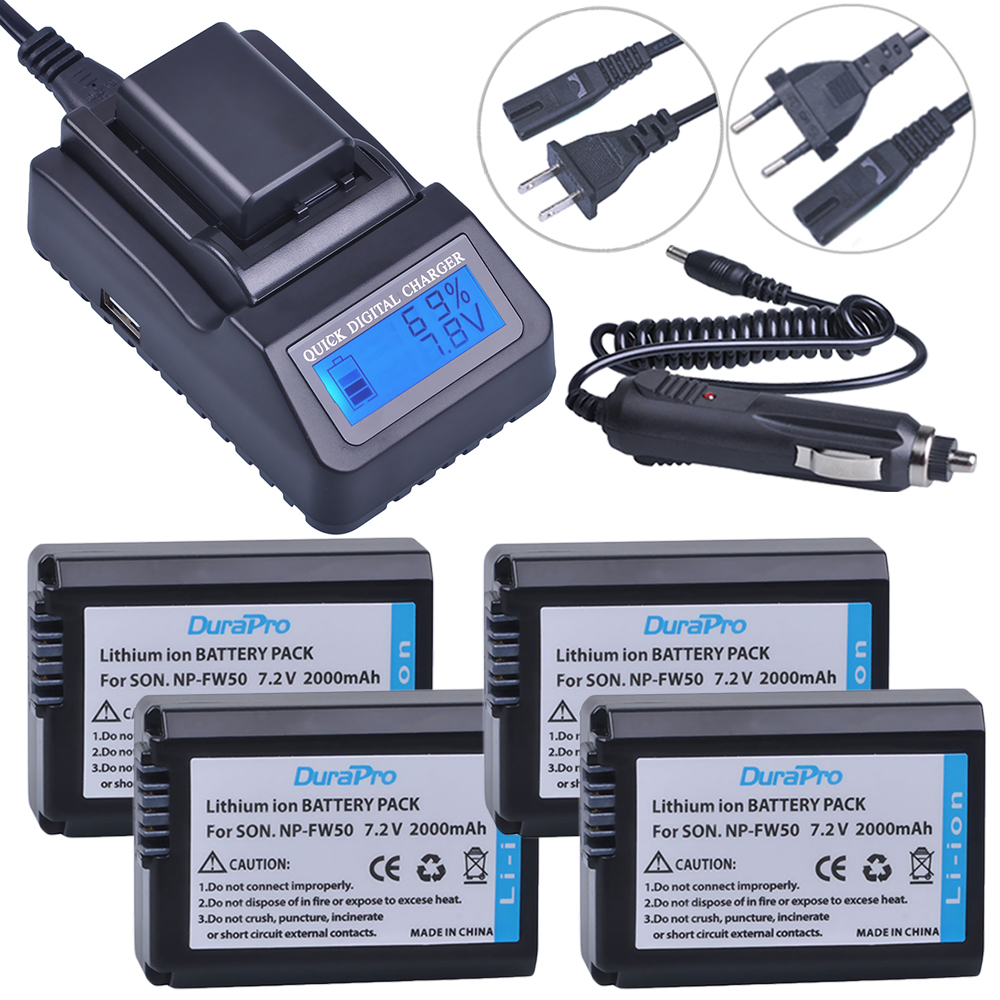 4pc NP-FW50 NP FW50 FW50 Li-ion Battery+ LCD Quick Charger For Sony A6000 NEX-7 NEX-5N NEX-F3 NEX-3D NEX-3DW NEX-3K NEX-5C 7R II l22 protective nylon carrying bag for sony nex 7n ne 5n nex f3 black blue