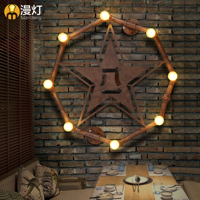 Us 221 89 30 Off Star Shaped Wall Lamps Limited Real Led Lamp Arandela Outdoor Light Vintage Reminisced American Aisle Lights In