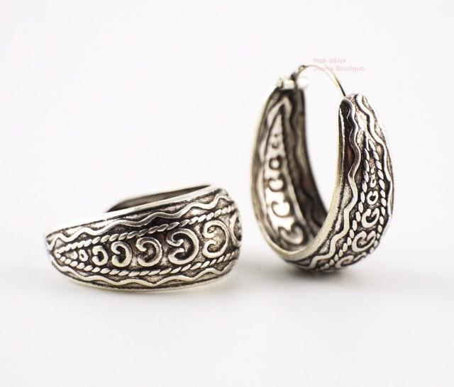3461e14f3 925 Sterling Silver Bali Style Oxidized Huggie Hoop Earrings 22x19mm Women  A1978