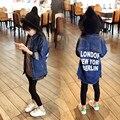 Nuevo 2016 Muchachas Del Otoño Jeans Coat Niños Chaqueta de Mezclilla Bebé Cartas de Moda Abrigo Niños chaqueta Niño Chaqueta Informal, 2-7Y