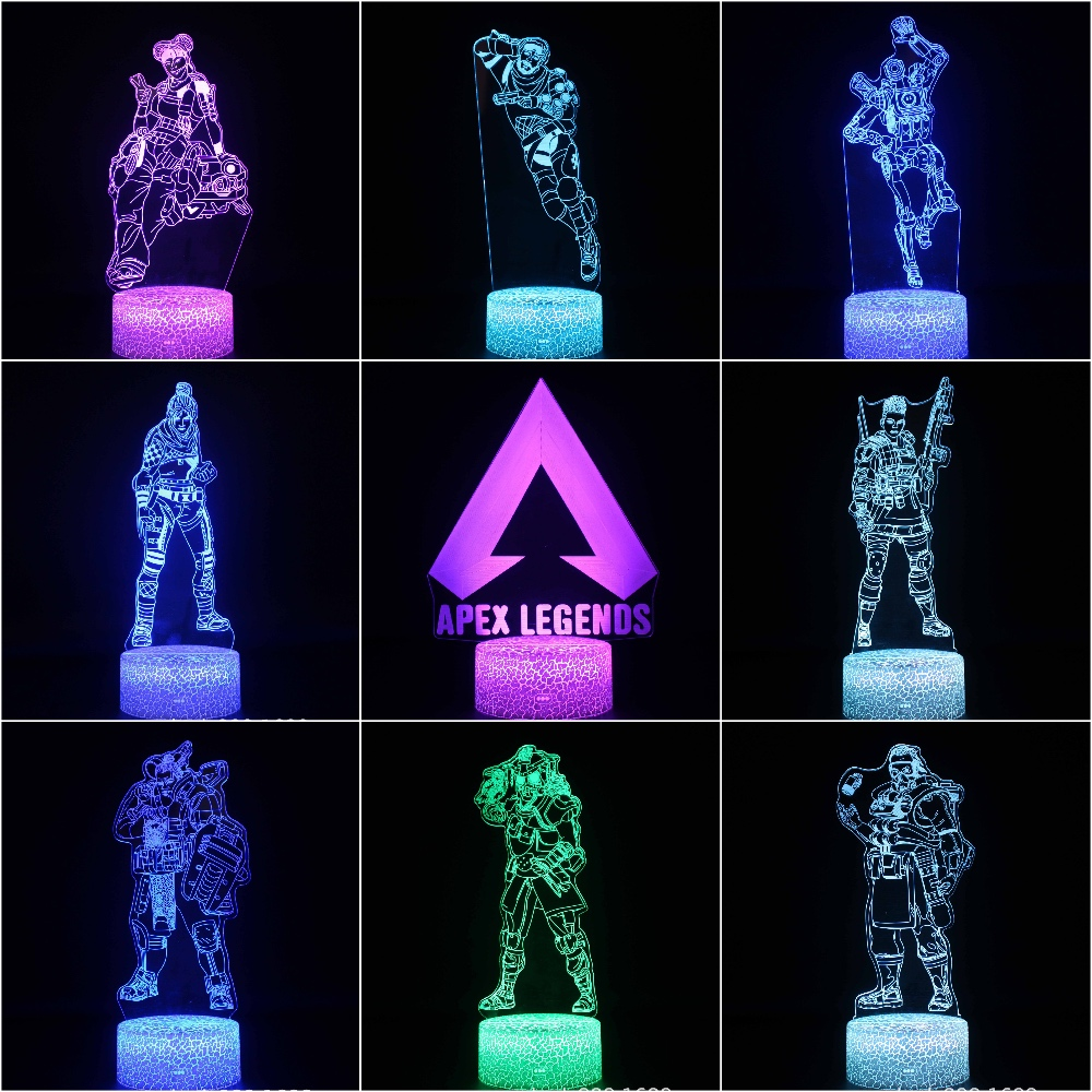 US $11.75 16% OFF|Kids LED Night Lamp APEX Legends Hero Figure Nightlight  for Child Bedroom Wraith Pathfinder Octane Mirage Lifeline Night Light-in  ...