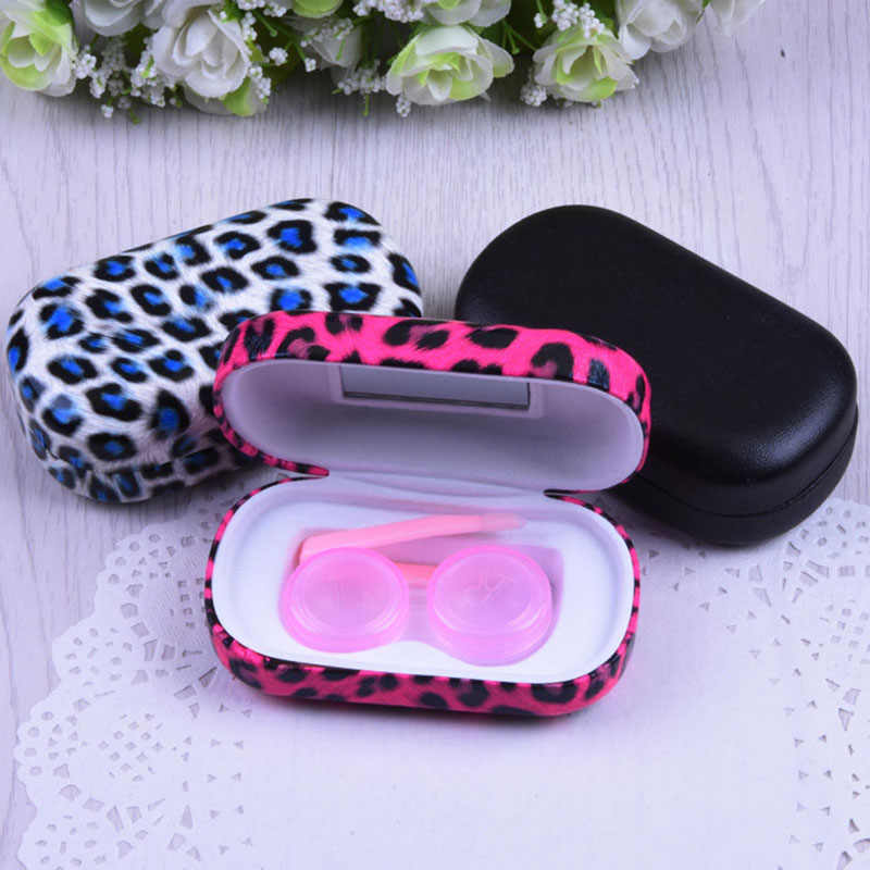 Leopard Contact Lens Case For Women Leather Contact Lenses Box Eyeglass Case Lens Container Christmas Gift Contact Lenses Box