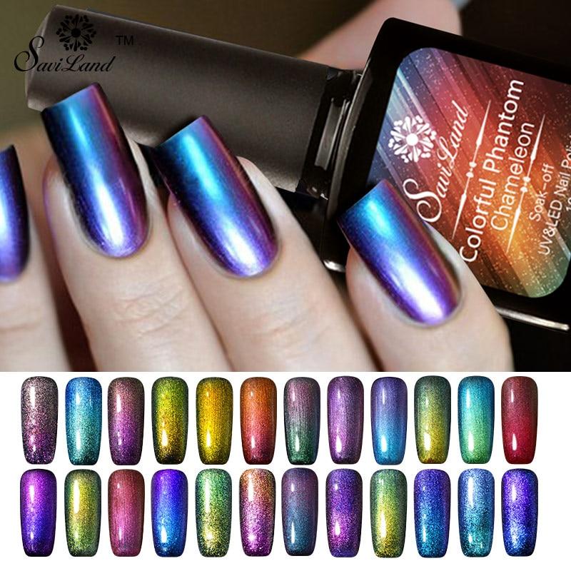 Saviland 1pcs 3D Chameleon βερνίκι νυχιών Gel Πολωνικά UV λάμπα για αλλαγές στο μανικιούρ Χρώμα GEL Lacquer Glaze