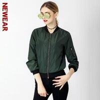 NEWEAR Women Casual Bomber Jacket Coat Autumn Winter Windbreaker Tops Long Sleeve Fashion Stand Collar Jackets Slim Zipper Coats