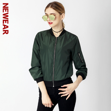 NEWEAR Women Casual Bomber Jacket Coat Autumn Winter Windbreaker Tops Long Sleeve Fashion Stand Collar Jackets Slim Zipper Coats